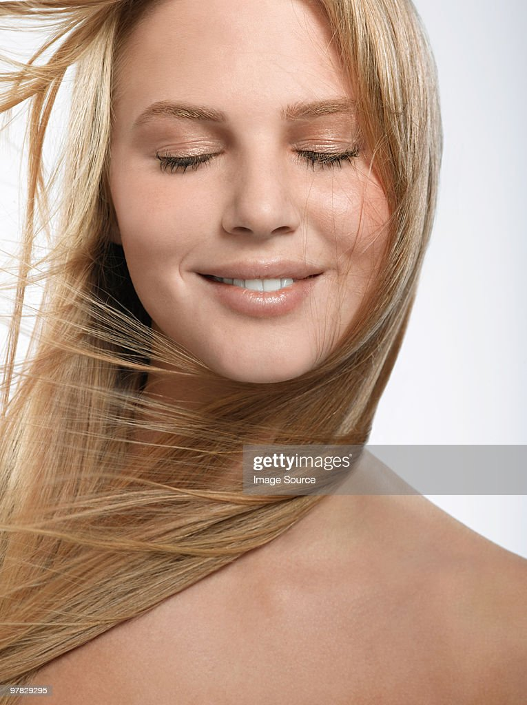 Portrait of young blonde woman : Stock Photo