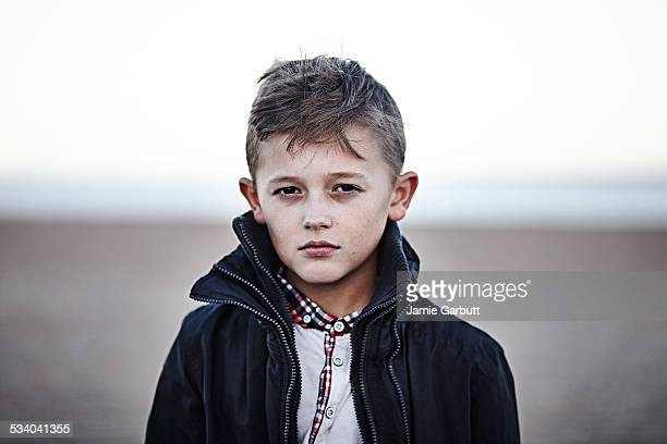 Portrait of young child male on the beach