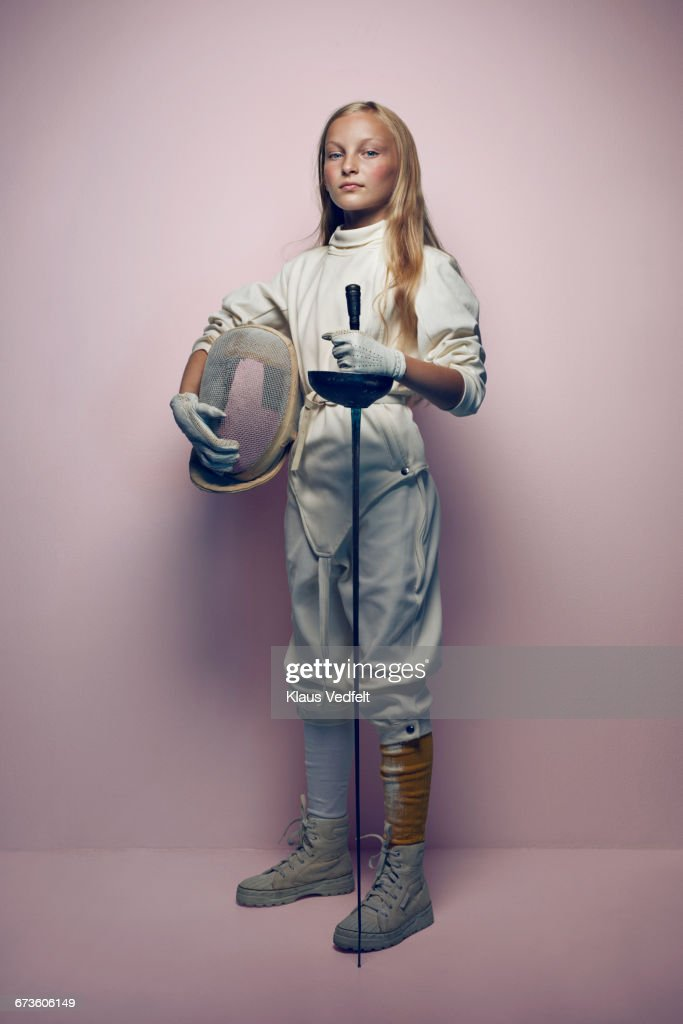 Portrait of young cool fencing girl : Stock Photo