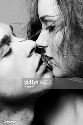 Portrait of Young Couple About to Kiss, Black and White : Stock Photo