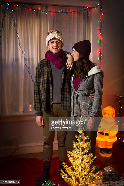 Portrait of young couple at christmas