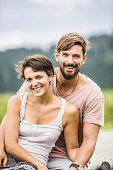 Portrait of young couple smiling