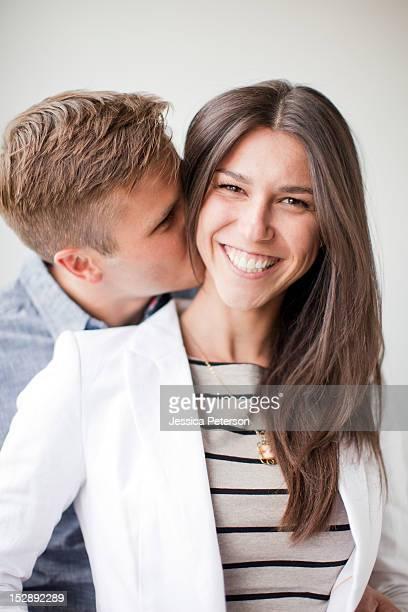 Portrait of young couple, studio shot