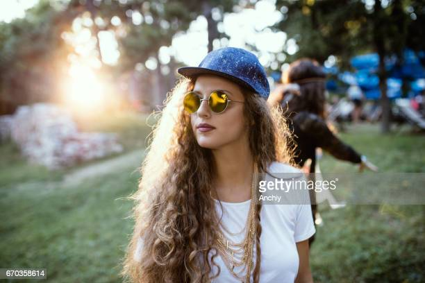 Portrait of young curly haired girl, accessories