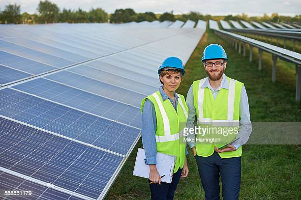 Portrait of young Engineers in solar farm