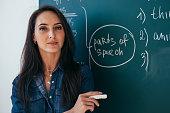 Portrait of young female teacher against chalkboard in class.