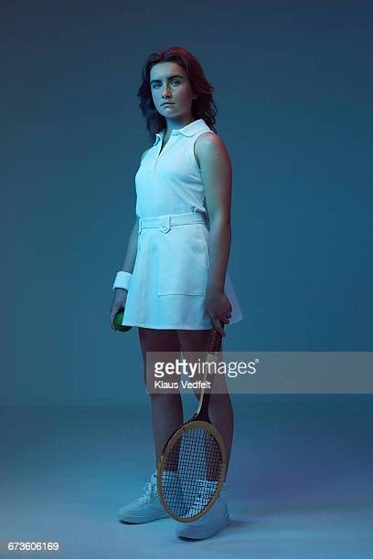 Portrait of young female tennis champion