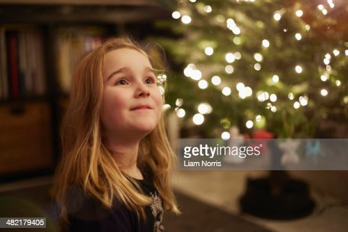 Portrait of young girl at christmas