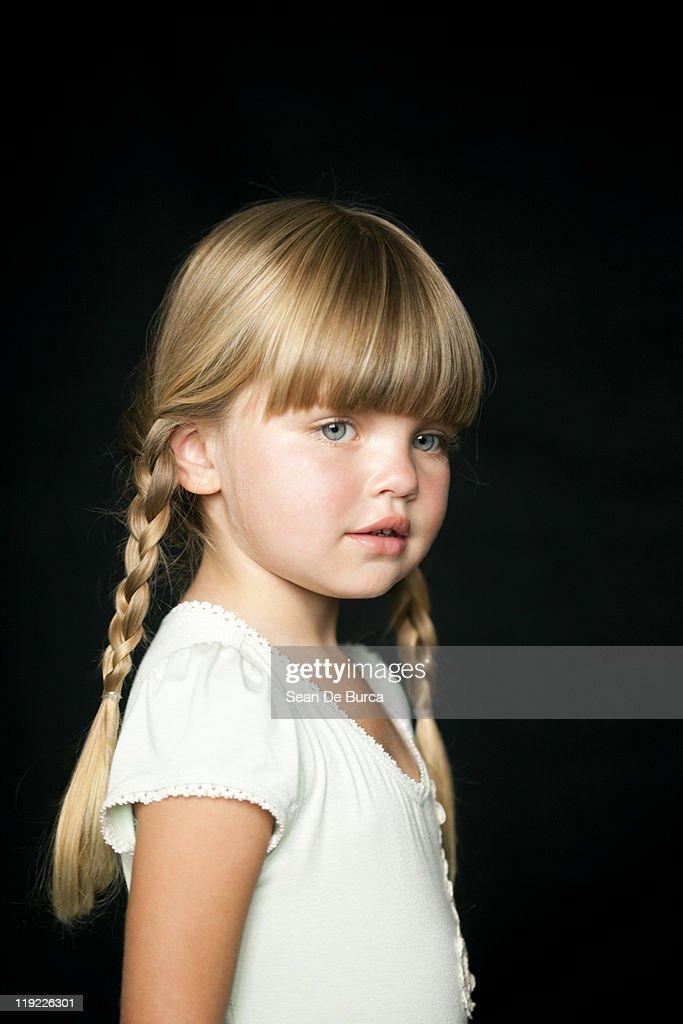 Portrait of young girl in studio. : Stock Photo