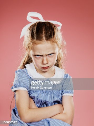 Portrait of young girl, really mad : Stock Photo