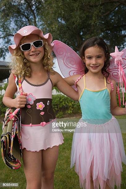 Portrait of young girls dressed up