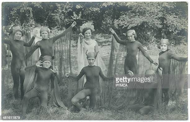 Portrait of young girls in fancy dress costumes circa 1900s