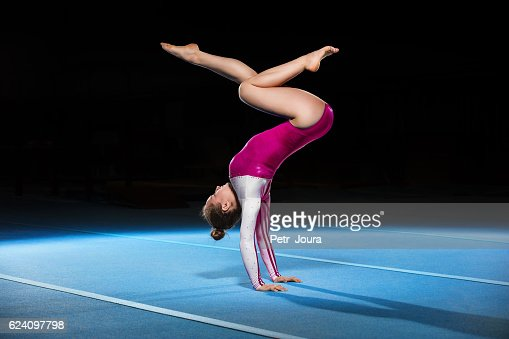 portrait of young gymnasts competing in the stadium : Stock Photo