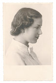 Portrait of young woman seventeen years old  in 1934