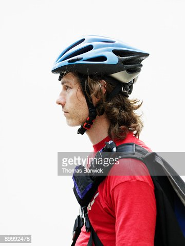 Portrait of young male bicycle messenger : ストックフォト