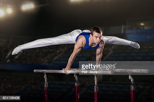 portrait of young man gymnasts : Stock Photo