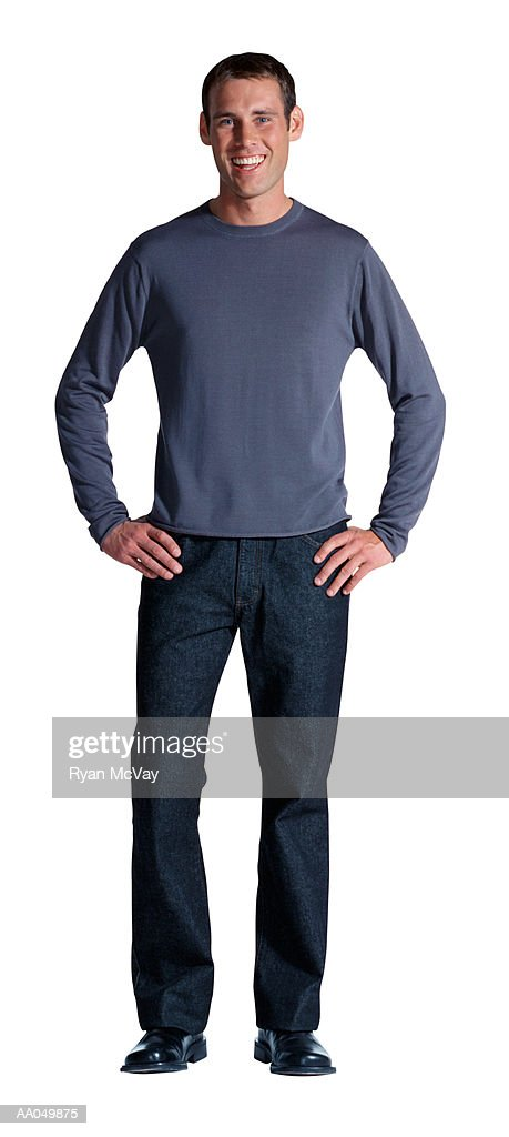 Portrait of Young Man, Hands on Hips : Stock Photo
