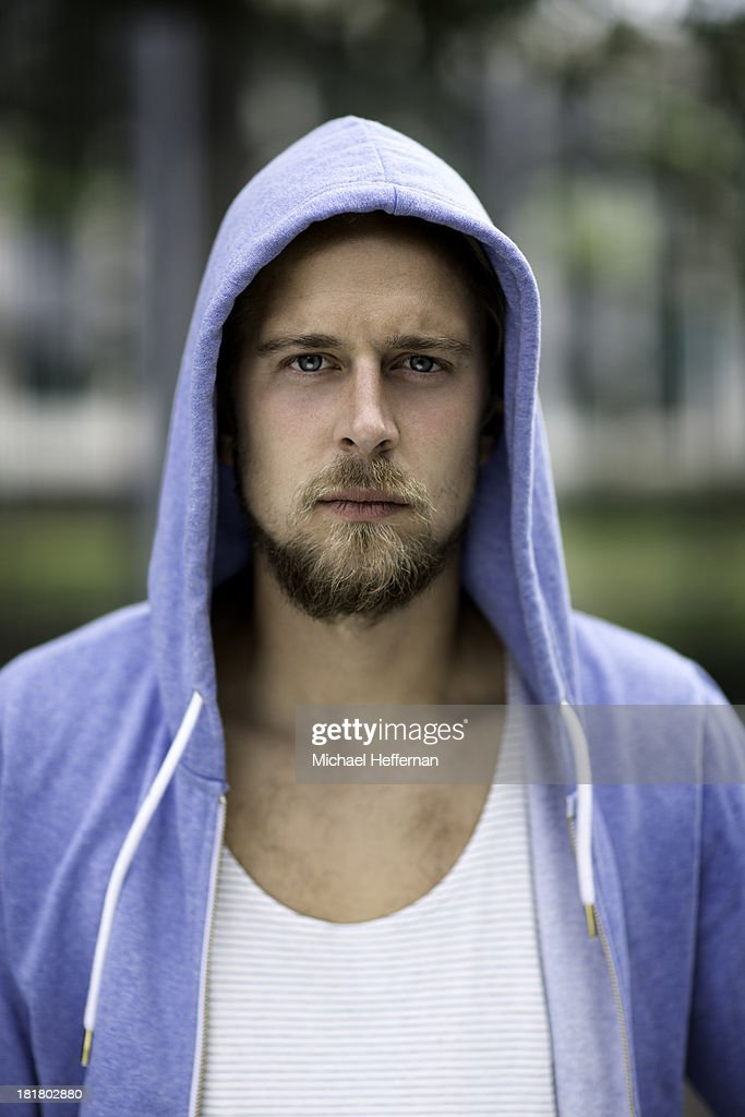 portrait of young man hood up : Stock Photo