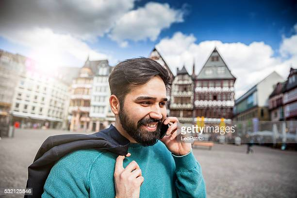 Portrait of young man in central Frankfurt