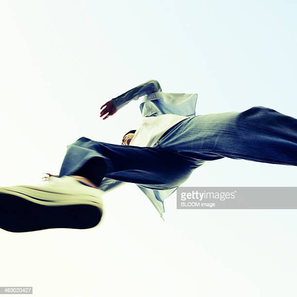 Portrait Of Young Man Jumping