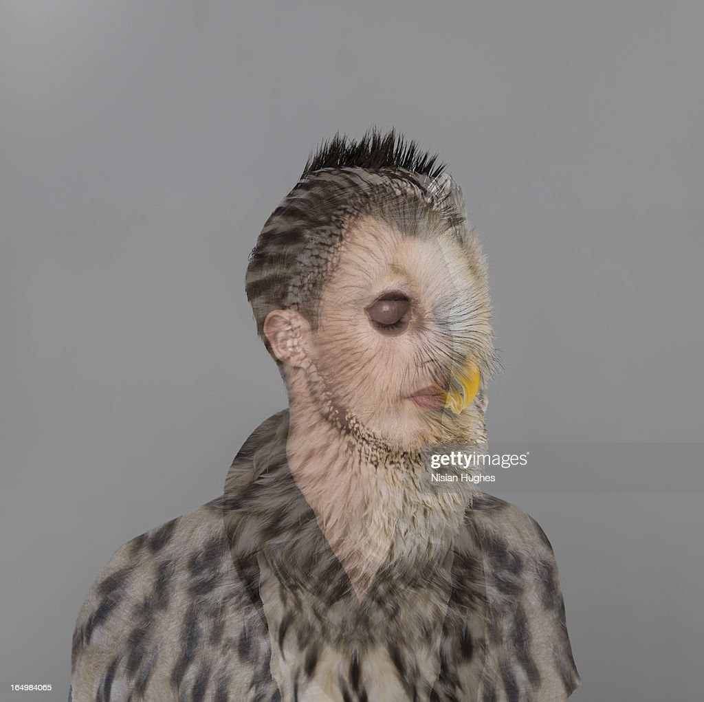Portrait of young man with owl overlay : Stock Photo