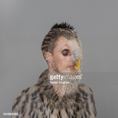 Portrait of young man with owl overlay : Foto de stock