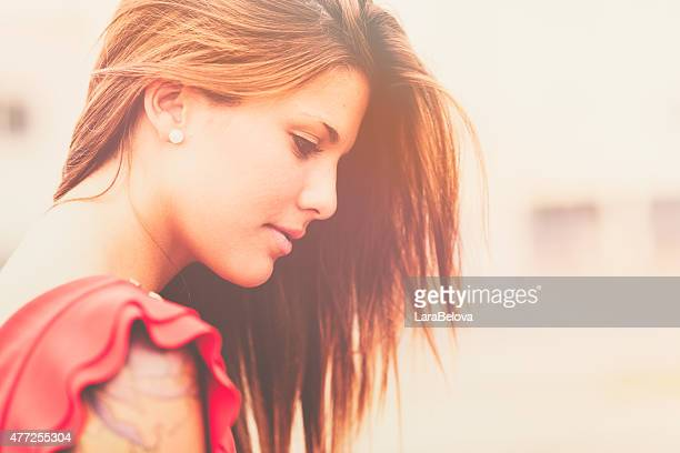 Portrait of young pensive woman
