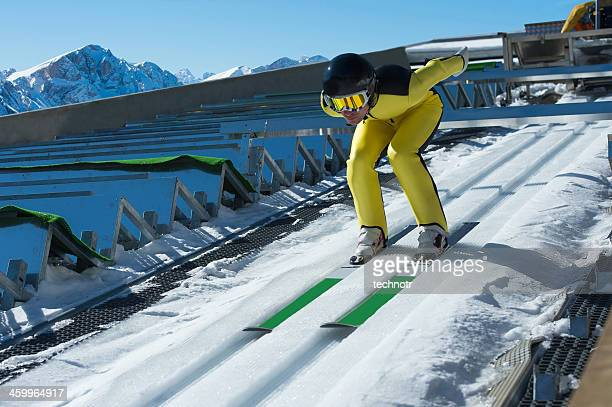 Portrait of Young Ski Jumper at Inrun