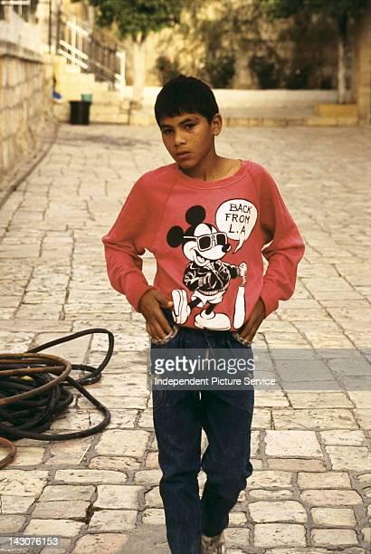 Portrait of young teenage boy in Old Jerusalem Israel