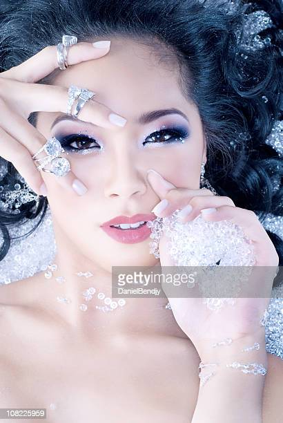Portrait of Young Woman Covered in Diamonds