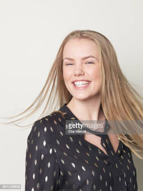 portrait of young woman enjoying herself