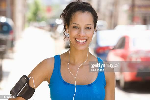 Portrait of young woman flushed after jog