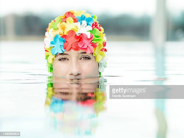 portrait of young woman in a pool