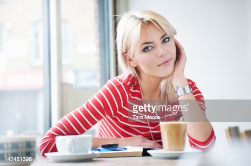 portrait of young woman in cafe