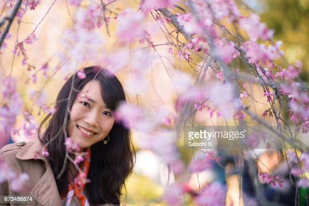 Portrait of young woman in cherry blossoms