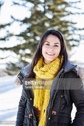 Portrait of young woman in overcoat : Foto stock