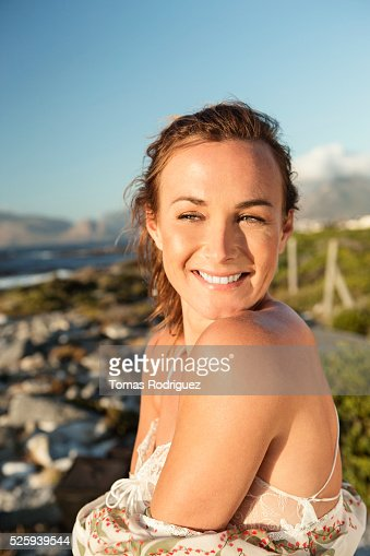 Portrait of young woman in summer dress : Stock Photo
