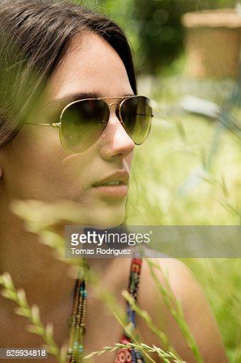 Portrait of young woman in sunglasses : Stock Photo