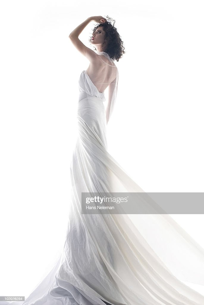 Portrait of young woman in wedding dress