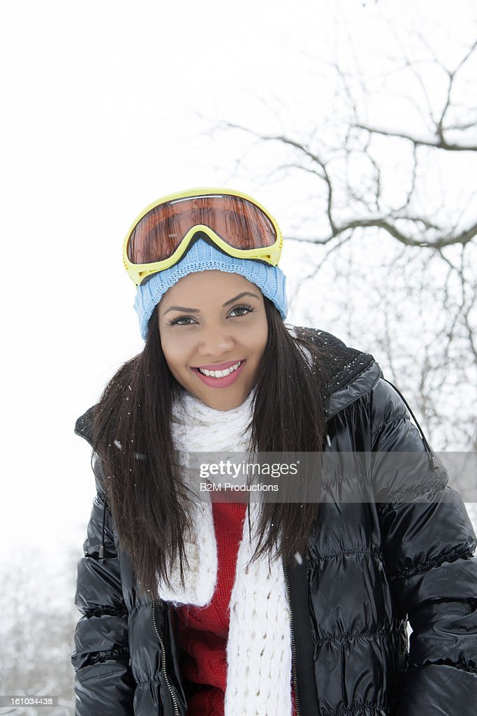 Portrait Of Young Woman In Winter : Stock Photo