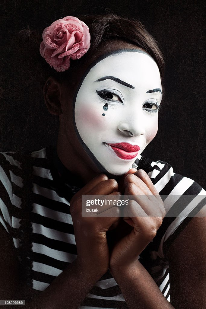 Portrait Of Young Woman Mime Stock Photo | Getty Images
