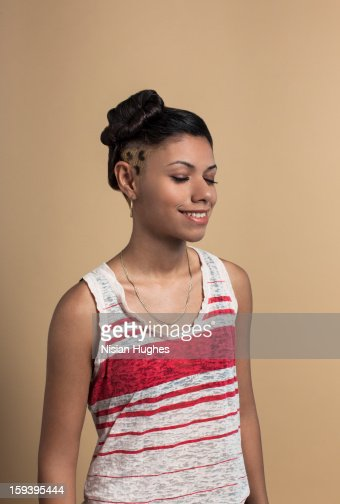 Portrait of young woman with eyes closed : Stock Photo