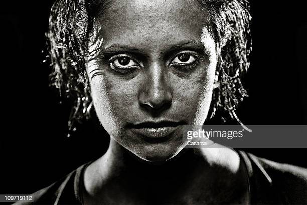 Portrait of Young Woman with Wet Hair, Black and White