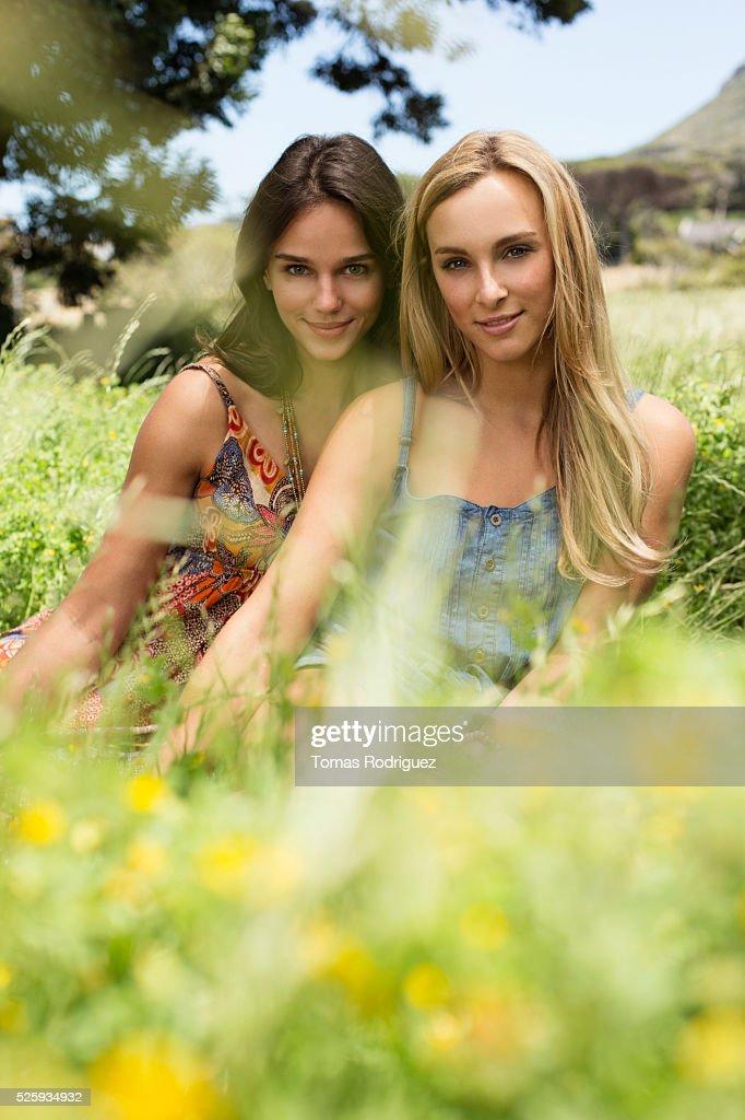 Portrait of young women relaxing at summer : Foto de stock