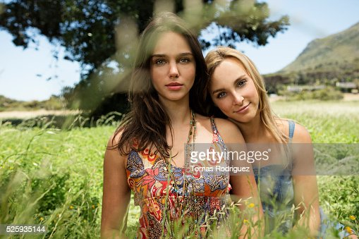 Portrait of young women relaxing at summer : Bildbanksbilder