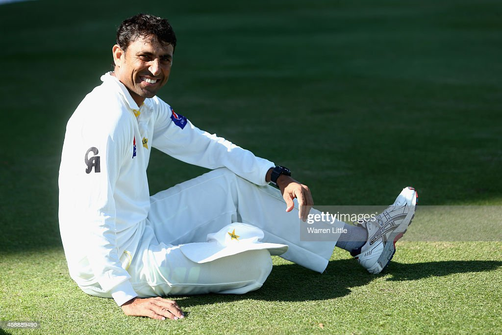 A portrait of <a gi-track='captionPersonalityLinkClicked' href=/galleries/search?phrase=Younis+Khan&family=editorial&specificpeople=585162 ng-click='$event.stopPropagation()'>Younis Khan</a> of Pakistan ahead of day five of the first test between Pakistan and New Zealand at Sheikh Zayed stadium on November 13, 2014 in Abu Dhabi, United Arab Emirates.