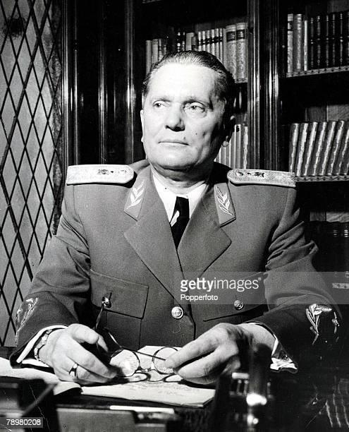 1953 A portrait of Yugoslavian communist leader Marshal Tito sitting at his desk