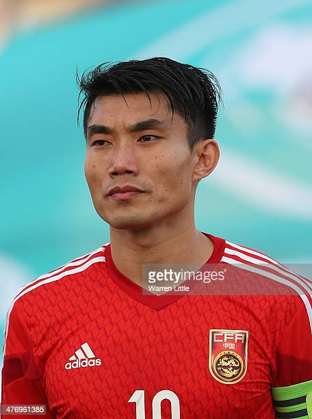 A portrait of Zheng Zhi of China during the Asian Cup Qualification match between China and Iraq at the AlSharjah Stadium on March 5 2014 in Sharjah...