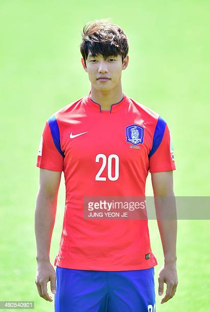 A portrait picture of South Korea's defender Hong JeongHo posing during the team's official presentation at the National Football Center in Paju...