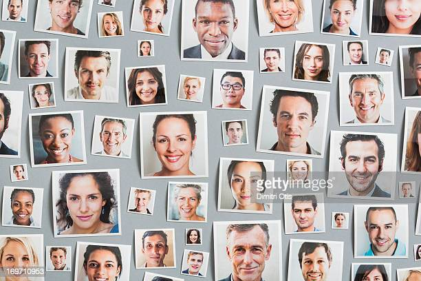 Portrait prints arranged randomly